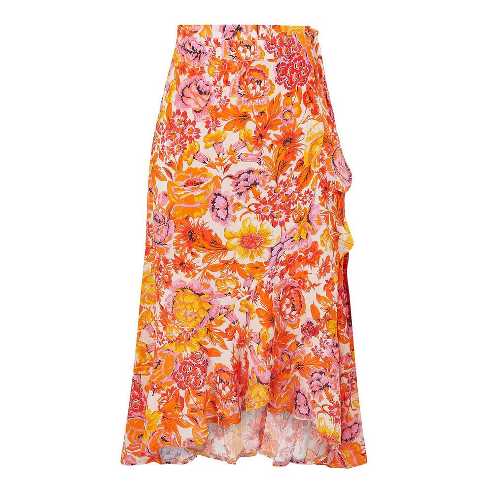 Jeff Lorella Printed Ruffle Skirt