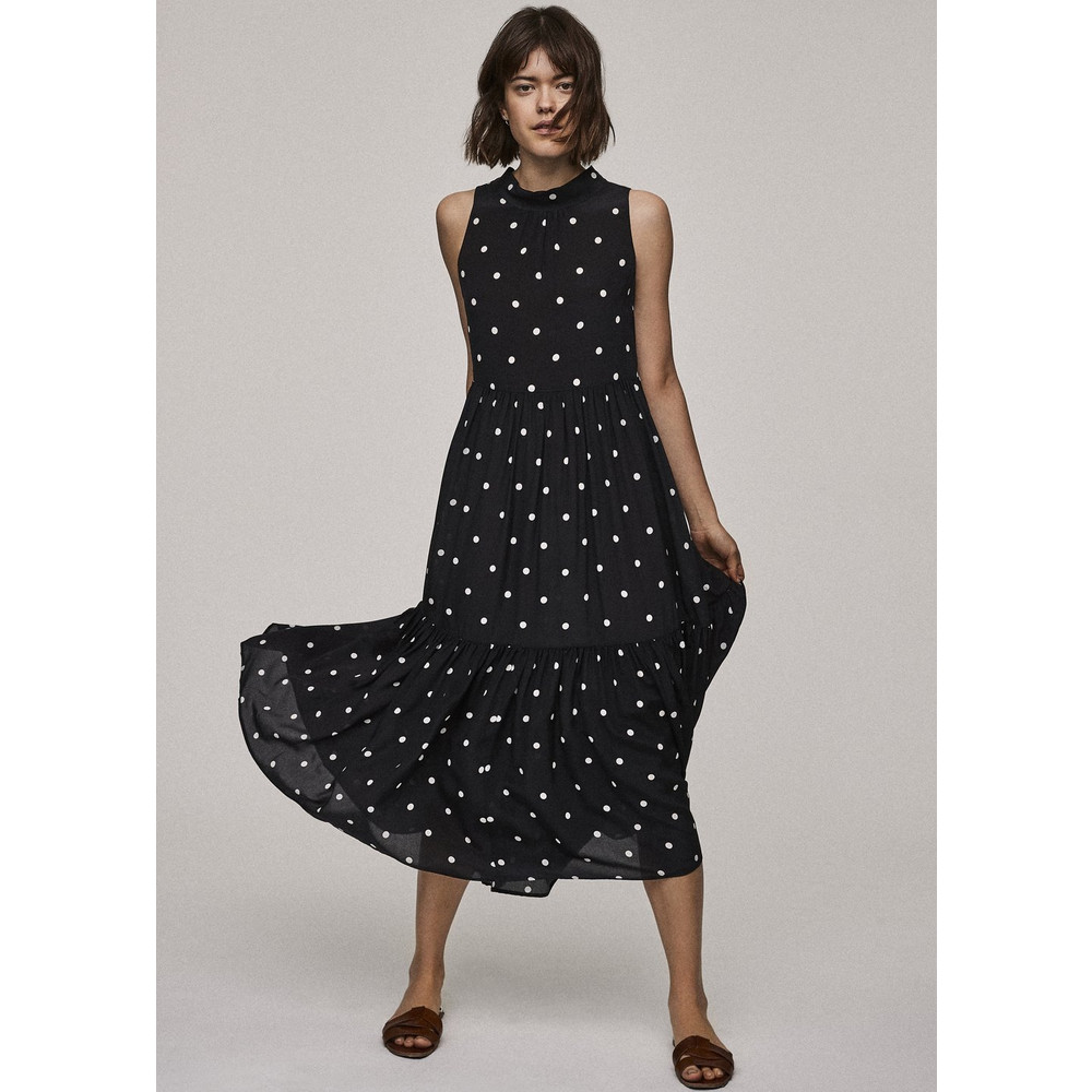 Asceno Polka Silk Long Neck Tie Dress