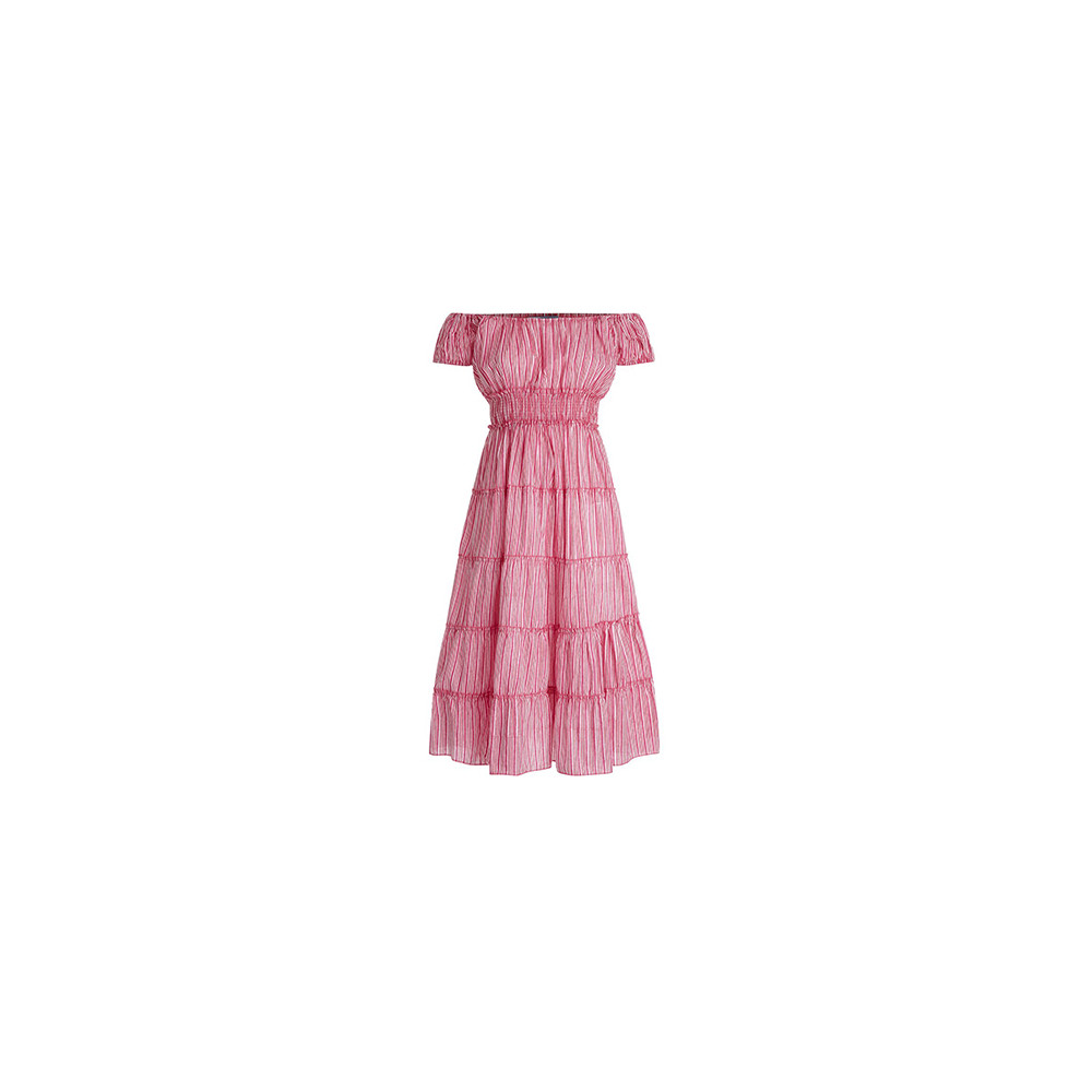 Pink City Prints Rah Rah Candy Stripe Dress Pink